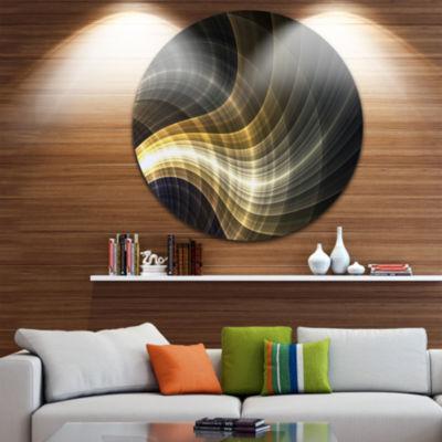 Designart Yellow Fractal Light Art Abstract CircleMetal Wall Art