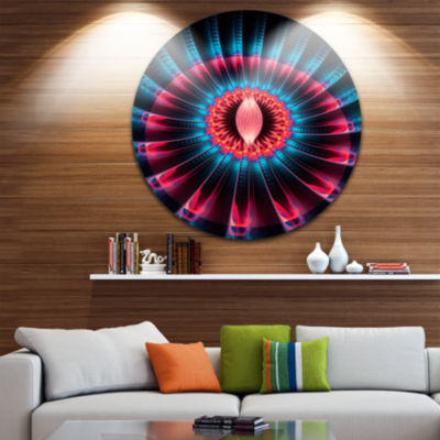 Designart Abstract Colorful Fractal Flower FloralCircle Metal Wall Art