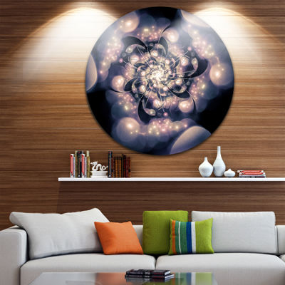 Designart Light Blue Fractal Flower Pattern FloralCircle Metal Wall Art