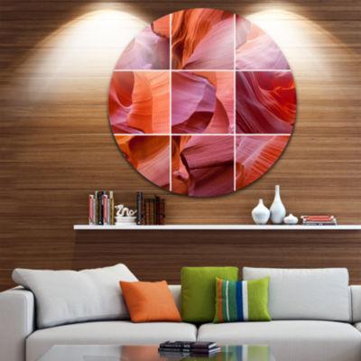 Designart Antelope Canyon Collage Landscape PhotoCircle Metal Wall Art