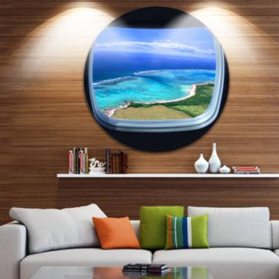 Designart Ocean View from Window Seascape Photography Circle Metal Wall Art