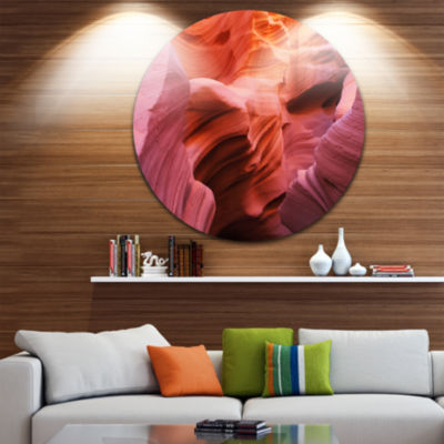 Designart Orange Red Antelope Canyon Landscape Photography Circle Metal Wall Art