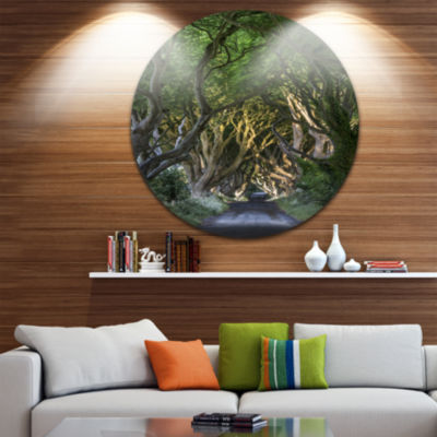 Designart The Dark Hedges Landscape Photography Circle Metal Wall Art