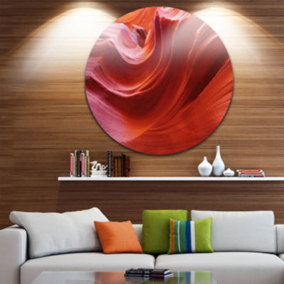 Designart Illuminated Antelope Canyon Landscape Photo Circle Metal Wall Art