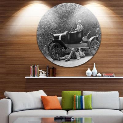 Designart Vintage Car Repair Car Photography Circle Metal Wall Art