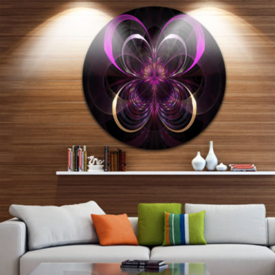 Designart Fractal Purple Flower in Dark Floral Circle Metal Wall Art