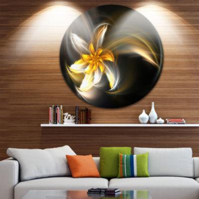 Designart Green Fractal Flower in Dark Floral Circle Metal Wall Art