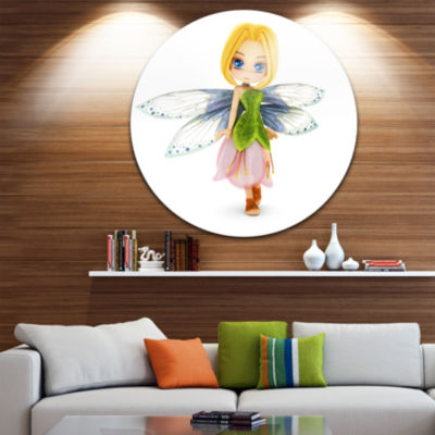 Designart Fairy Woman with Blue Wings Floral MetalArtwork