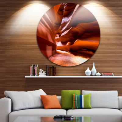 Designart Breathtaking Antelope Canyon Landscape Photo Circle Metal Wall Art