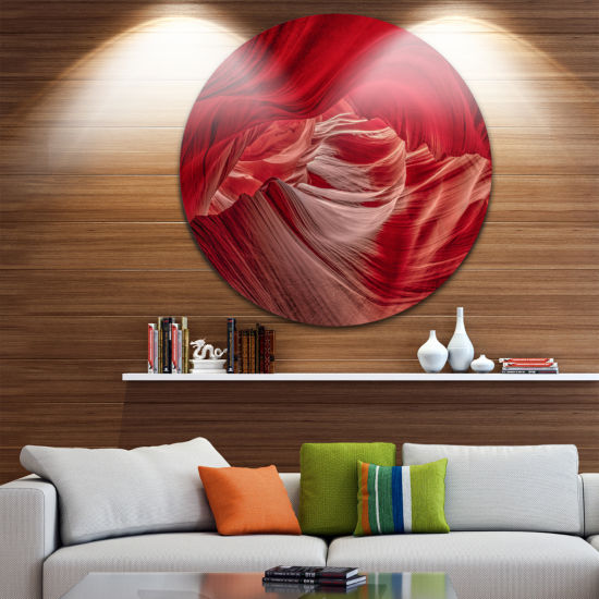 Designart Red Shade in Antelope Canyon Landscape Photography Circle Metal Wall Art