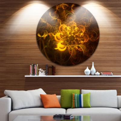 Designart Golden Fractal Flower in Dark Floral Circle Metal Wall Art