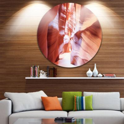 Designart Panoramic View Antelope Canyon LandscapePhotography Circle Metal Wall Art