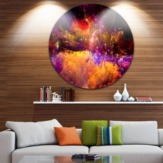 Designart Universe Fractal Burst Abstract Circle Metal Wall Art