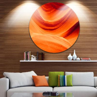 Designart Antelope Canyon Orange Wall Landscape Photography Circle Metal Wall Art