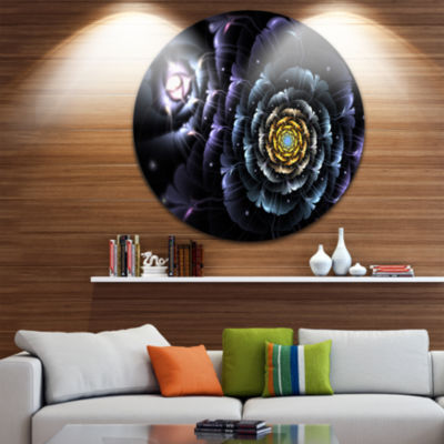 Designart Dark Blue Fractal Flower in Dark FloralCircle Metal Wall Art