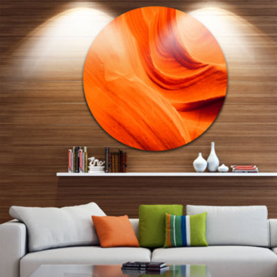 Designart Orange Upper Antelope Canyon Landscape Photography Circle Metal Wall Art