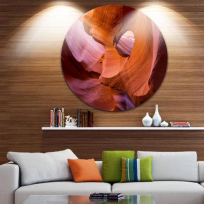 Designart Antelope Canyon Sandstone Waves Landscape Photography Circle Metal Wall Art