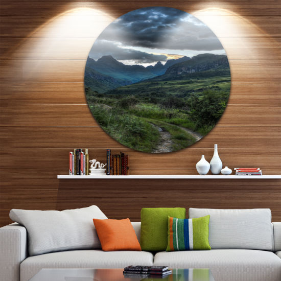 Designart Giants Castle Hills Landscape Photography Circle Metal Wall Art