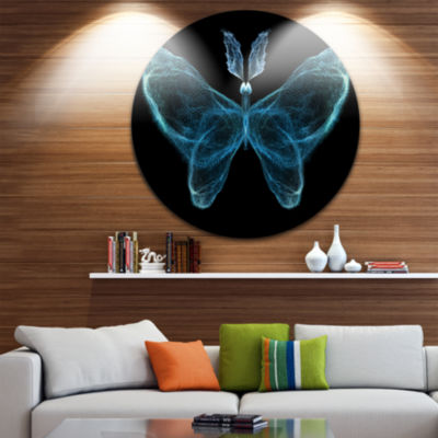 Designart Turquoise Fractal Butterfly in Dark Abstract Circle Metal Wall Art