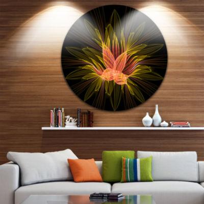 Designart Yellow Red Fractal Flower in Dark FloralCircle Metal Wall Art