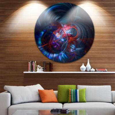 Designart Light Blue Fractal Flower in Dark FloralCircle Metal Wall Art