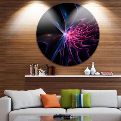 Designart Blue Fractal Light Art in Dark AbstractCircle Metal Wall Art