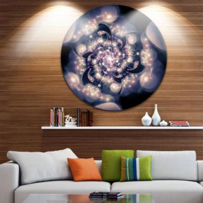 Designart Black White Fractal Flower in Dark Floral Circle Metal Wall Art