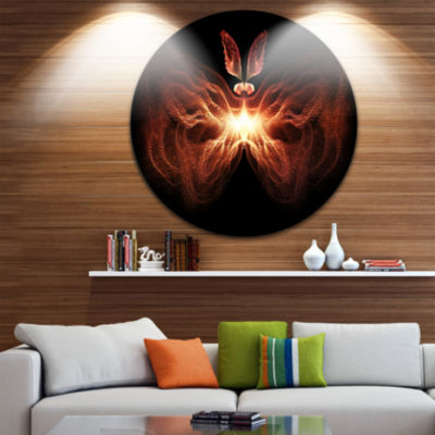 Designart Fire in Middle Fractal Butterfly Abstract Circle Metal Wall Art