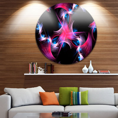 Designart Purple Blue Fractal Flowers Floral Circle Metal Wall Art