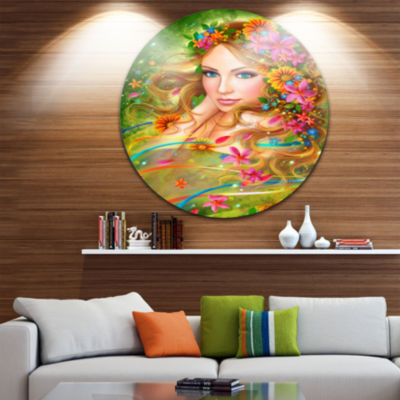 Designart Fairy Woman with Colorful Flowers FloralCircle Metal Wall Art