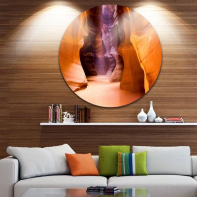 Designart Upper Antelope Canyon Landscape Photo Circle Metal Wall Art