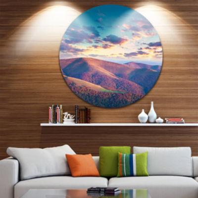 Designart Carpathian Hills Under Clouds LandscapePhotography Circle Metal Wall Art