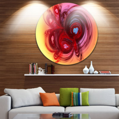 Designart Waves Around the Hearts Abstract CircleMetal Wall Art