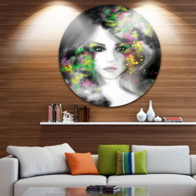 Designart Fantasy Portrait Woman Abstract PortraitCircle Metal Wall Art