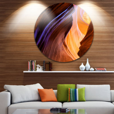 Designart Blue Wall of Antelope Canyon Landscape Photography Circle Metal Wall Art