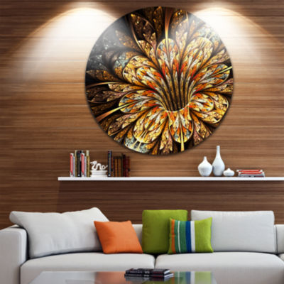 Designart Golden Shiny Fractal Flower Floral Circle Metal Wall Art