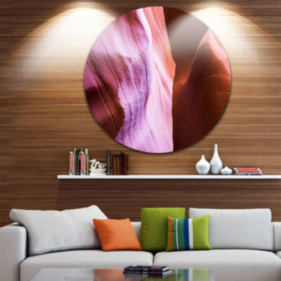 Designart Purple Shade in Antelope Canyon Landscape Photography Circle Metal Wall Art