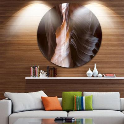 Designart Brown Antelope Canyon Landscape Photography Circle Metal Wall Art