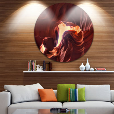 Designart Stone Structures In Lower Antelope Canyon Photography Circle Metal Wall Art
