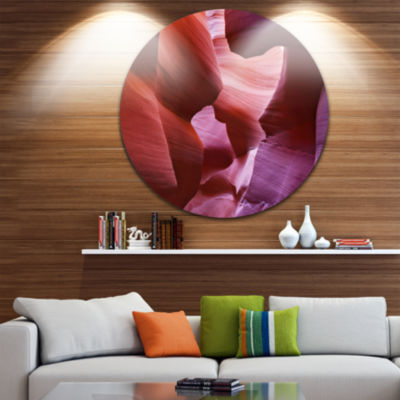 Designart Play of Light in Antelope Canyon Landscape Photography Circle Metal Wall Art