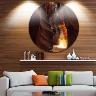 Designart Sunbeam In Antelope Canyon Landscape Photography Circle Metal Wall Art