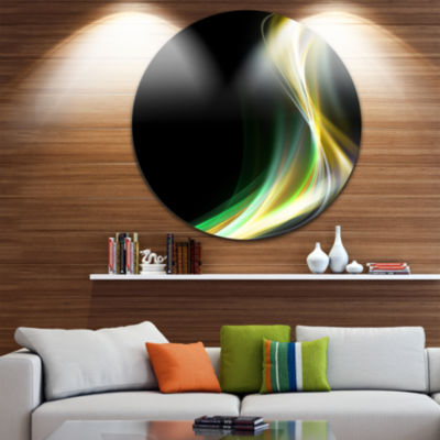 Designart Green Yellow Light Art Abstract Circle Metal Wall Art
