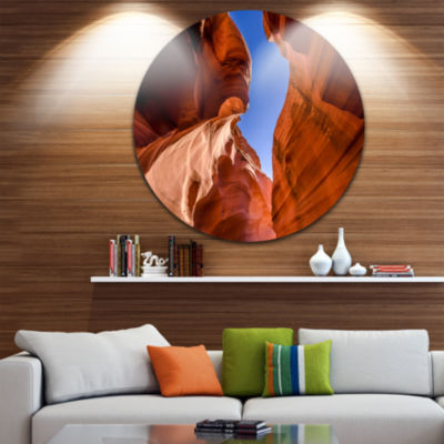 Designart Grand Antelope Canyon Landscape Photography Circle Metal Wall Art