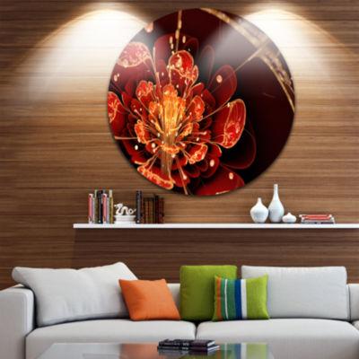 Designart Flower with Red Golden Petals Floral Circle Metal Wall Art