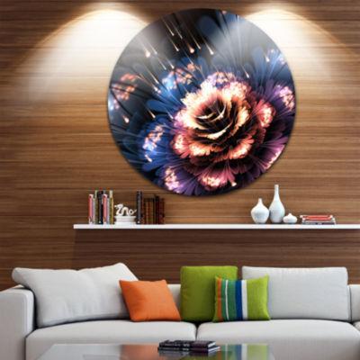 Designart Fractal Flower Orange and Blue Floral Circle Metal Wall Art