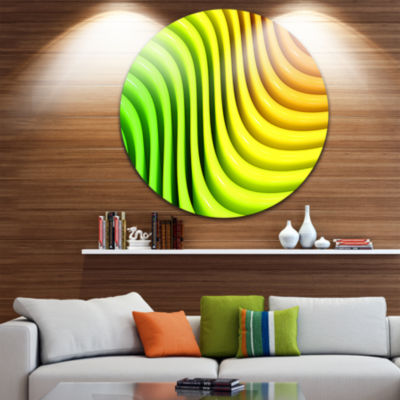 Designart Rainbow Colors Wave Abstract 3D Contemporary Circle Metal Wall Art