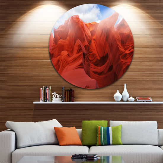 Designart Red and Orange Shade in Antelope CanyonPhotography Circle Metal Wall Art