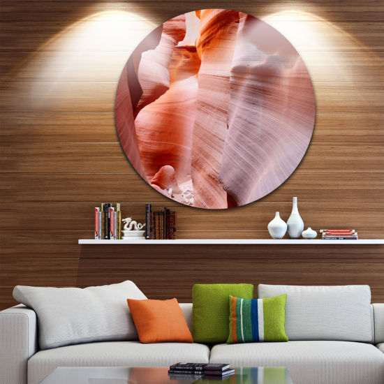 Designart Sun Rays in Antelope Canyon Landscape Photography Circle Metal Wall Art