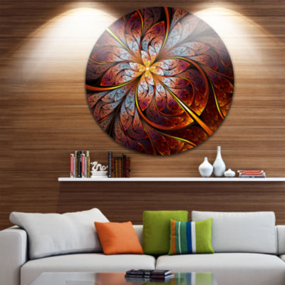 Designart Fractal Flower Red and Blue Floral Circle Metal Wall Art