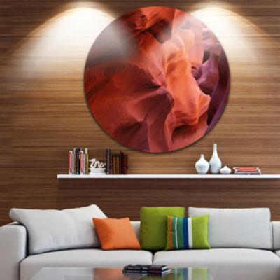 Designart Antelope Canyon Magical Shades LandscapePhotography Circle Metal Wall Art